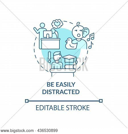 Be Easily Distracted Concept Icon. Inattentive Symptom Abstract Idea Thin Line Illustration. Neurode