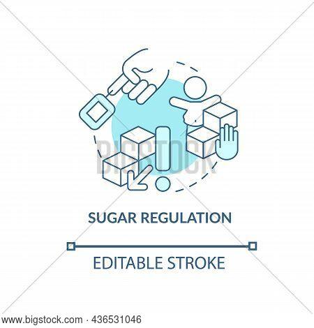 Sugar Regulation Concept Icon. Adhd Diet Abstract Idea Thin Line Illustration. Regulating Dopamine L