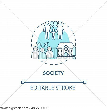 Society Concept Icon. Adhd Cause Abstract Idea Thin Line Illustration. School And Work Settings. Fam