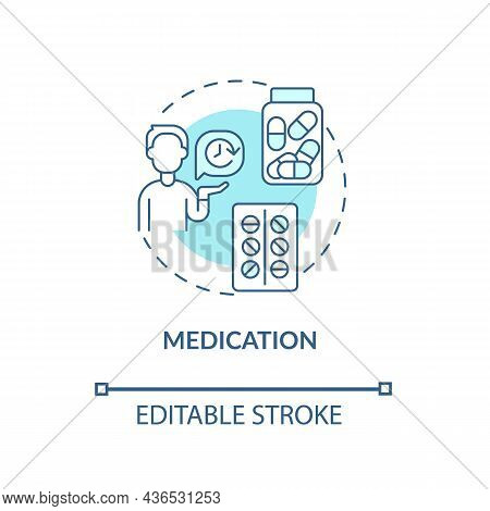 Medication Concept Icon. Treatment For Adhd In Adults Abstract Idea Thin Line Illustration. Treating