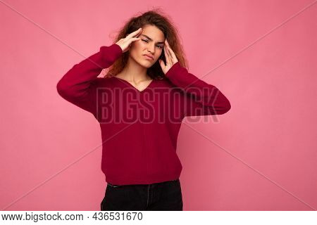 Young Emotional Attractive Brunette Curly Woman With Sincere Emotions Wearing Trendy Pink Pullover I