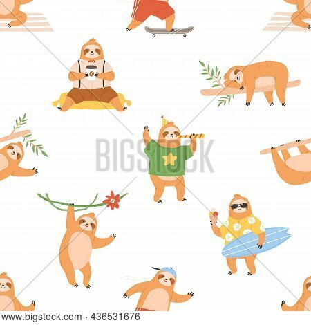 Seamless Pattern With Cute Sloths. Repeating Background With Lazy Funny Baby Animals. Endless Print.