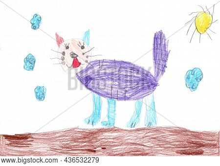 Child's Drawing Of A Cat On A Walk. Pencil Art In Childish Style. Pencil Art In Childish Style