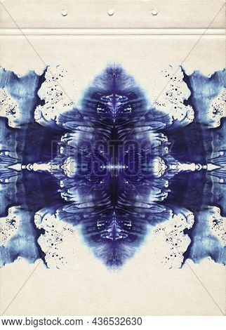 Card Of Rorschach Inkblot Test. Blue Watercolor Symmetric Blots. Fine Abstract Watercolor Painting O