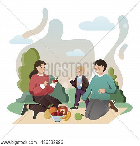 Family Picnic. Isolated Flat Style Colored Illustration. School Lessons. Lunch Family In Nature.