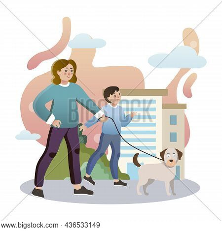 Walk With Dog. Isolated Flat Style Colored Illustration. School Lessons. Mom And Son Walking The Dog