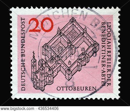 ZAGREB, CROATIA - JUNE 27, 2014: Stamp printed in Germany shows Ottobeuren Benedictine Abbey, 1200th anniversary, circa 1964
