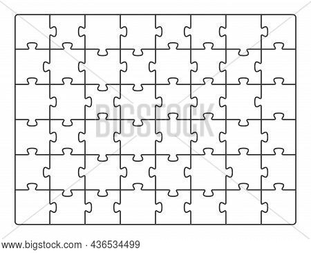 Puzzle Pieces Square. Jigsaw Pattern Template, White Game Square Grid. Mosaic Tiles, Empty Geometric