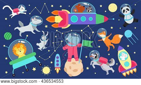 Space Animals Set. Kid Planets, Flat Cartoon Animal Astronauts. Cute Characters In Spaceship, Flying