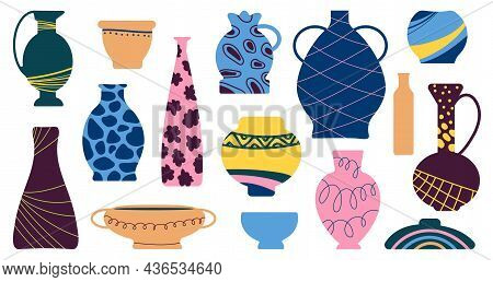 Ceramic Vases. Antique Vase, Ancient Pottery Icons. Earthenware Pot And Jug, Clay Bowl. Flat Elegant