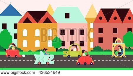 City Transportation. Car On Street, Cartoon Childish Transport. People Riding On Road, Kawaii Style