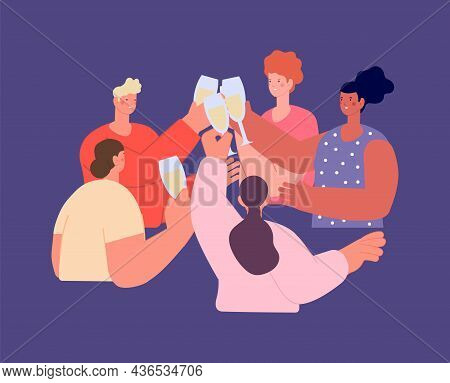 Friends Celebrate. Cheers, People Drink Champagne. New Year Party, Birthday Celebration. Guys Drinki