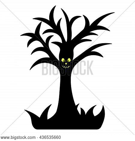 Ominous Tree. Terrible Grin. Silhouette. Oak With Crooked Branches. An Eerie, Toothy Grimace. Vector
