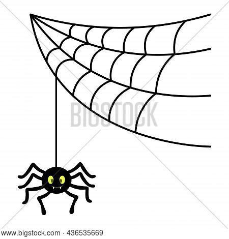 The Spider Weaves A Web. Silhouette. The Insect Hangs On A Thin Thread. A Clever Hunter. Vector Illu