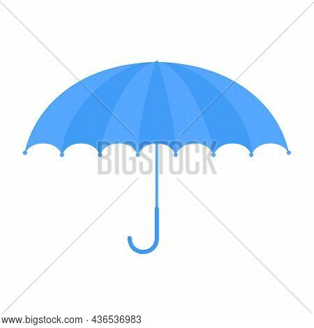 Blue Umbrella In Cartoon Style Isolated On White Background. Rainy Weather Protection Concept. Premi