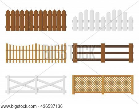 Wooden Fences. Flat Farm Barriers And Border Walls. Country Planks Fencing Templates. Different Type