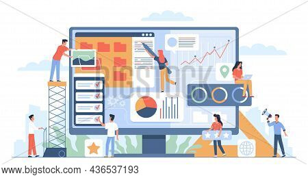 People Build Website. Developers Create Software. Designers And Programmers Work On Project. Coordin