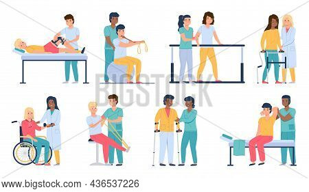 Physiotherapy People. Patients Gradual Recovery, Medical Physical Workout, Rehab And Development Mob