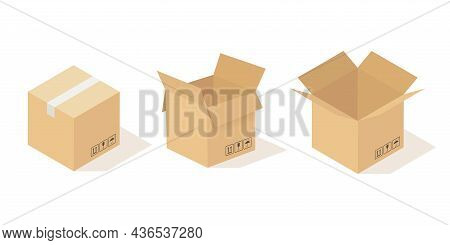 Boxes Carton. Opened And Closed Cardboard Box, Beige Delivery Packaging Angle View. Cardboard Square