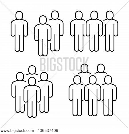 Line Icons People. Business People Groups. Communication, Teamwork And Human Crowd. Black Line Picto