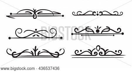 Page Divider Decorative. Vintage Swirls, Ornaments Frame, Floral Text Borders, Ornate Dividers. For