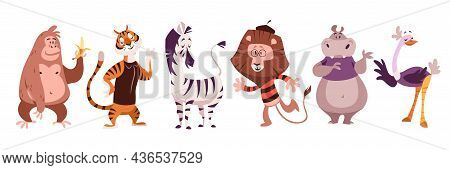 Exotic Animals. Jungle Monkey And Tiger, Zebra And Lion, Hippo And Ostrich, Wildlife Zoo And Circus