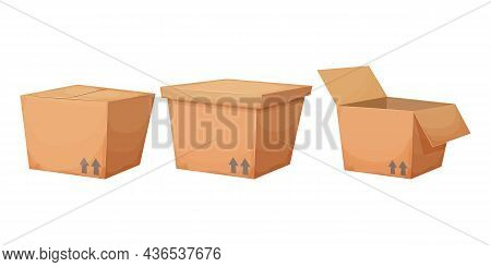 Set Cardboard Box In Cartoon Style Isolated On White Background. Collection Gift, Surprise Or Delive