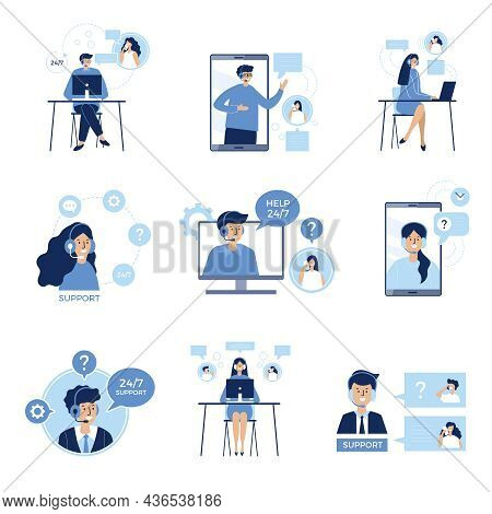 Phone Talk Persons. Customers Service Dialogue Service Center Distance Speaking Helping Clients Rece