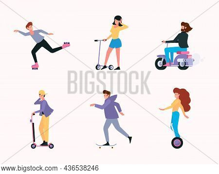 Riding Characters. Urban Transport People Electric Bike Scooter Electric Cars Transportation Rollers