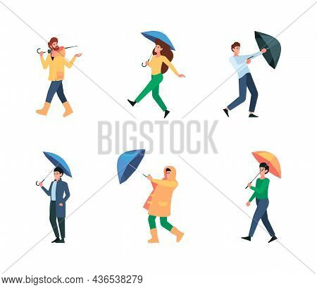 Umbrella People. Walking Persons Male And Female With Umbrella In Rainy And Windy Weather Garish Vec