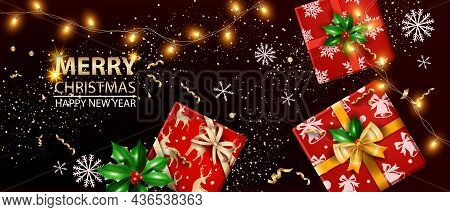 Christmas Sale Holiday Banner, Vector Happy New Year Luxury Background, Garland Lights, Snowflake. W