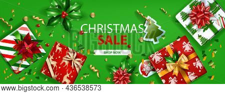Christmas Holiday Sale Banner, Vector Winter Green Discount Web Landing Page, Top View Gift Box, Bow