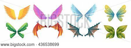 Mythology Wings. Fantasy Flying Creatures Monsters Medieval Fairy Tale Dragons Or Birds Body Parts B