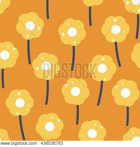 Vector 60s Inspired Cute Daisies With Retro Texture In Orange And Blue Seamless Pattern Background D