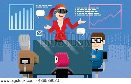 A Woman Is Having A Virtual Meeting With Her Colleagues By Using Vr Technology. Vector. Background I
