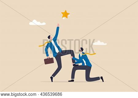 Reach For The Star, Teamwork Or Support To Achieve Business Goal, Partnership Or Manager Mentorship