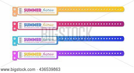 Bracelet Event Access Vector Set Different Color For Id Fan Zone Or Vip, Party Entrance, Concert Bac