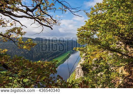 View Over The River Elbe To The Saxon Sandstone Mountains, Germany.