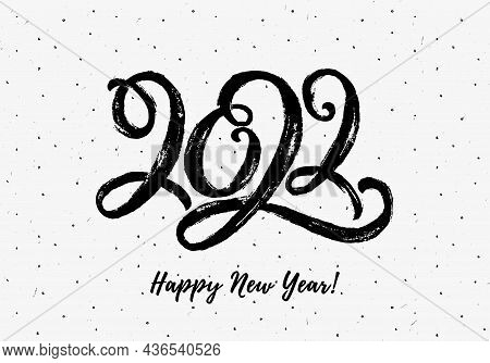 2022 Lettering. Happy New Year Greeting Card. Black Hand Drawn Paintbrush Figures On White Backgroun