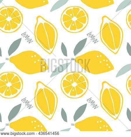 Abstract Lemon Fruit Seamless Pattern, Childish Hand Drawn Doodle Sketch Background. Citrus Whole Fr