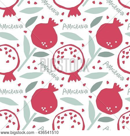 Seamless Pattern Childish Cut Pomegranate With Leaf. Hand Drawn Doodle Sketch Background. Whole Frui