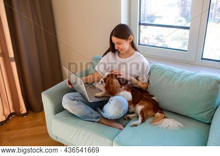Young Woman Sitting At Home On Sofa With Cavalier King Charles Spaniel Dog.