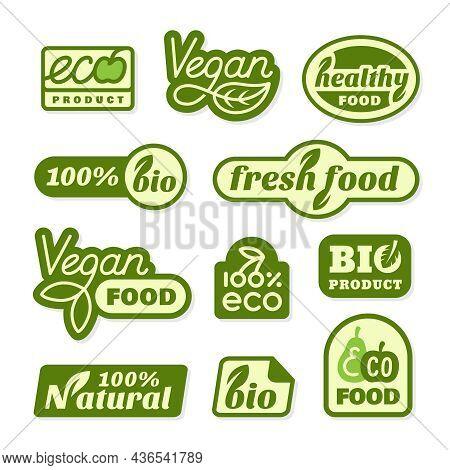 Vegan Food Stickers. Eco Veggie Freshness Label, Green Bio Tags. Ecology Emblem For Packaging, Healt