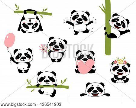 Cartoon Cute Panda. Baby Pandas, Asian Bear With Bamboo. Wild Funny Animal, Diverse Pose Characters.