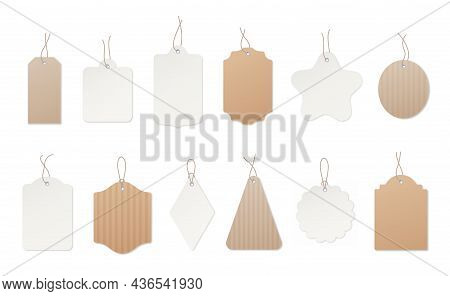 Price Tags. Gift Label, Cardboard Blank Sale Tag. Price Or Packaging Design Elements On Strings. Cra
