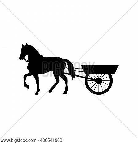 Silhouette Horse Harnessed To Cart. Traditional Rural Transportation. Illustration Symbol Icon