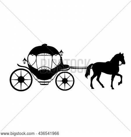 Silhouette Carriage With Horse. Traditional Transportation. Symbol Illustration Icon