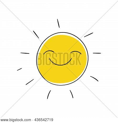 Happy Sun With Smile In Doodle Cartoon Style. Childish Simple Art For T Shirts, Clothes Design. Vect