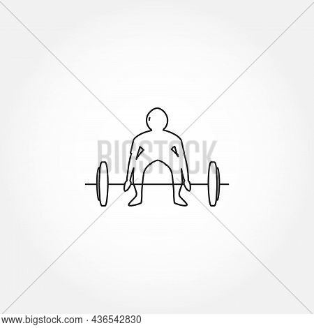 Weightlifting Line Icon. Athlete Lifts The Barbell Isolated Line Icon