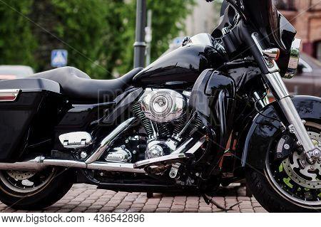 Minsk, Belarus, October 2021 - Harley Davidson Motorcycle With Chrome Engine. American Brand